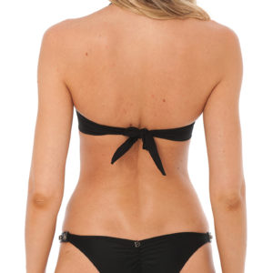 Schwarzer Bandeau Bikini mit Pflanzenleder - DESPI
