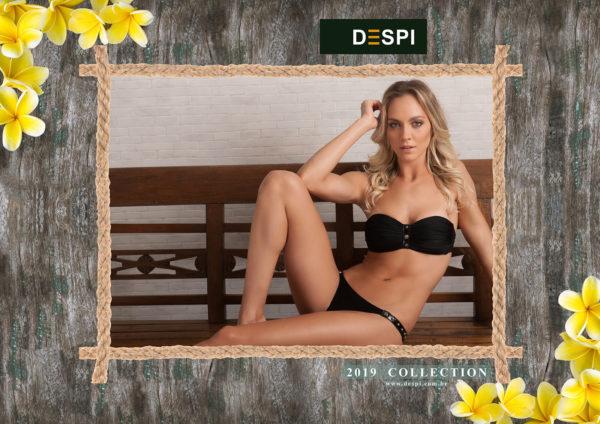 Schwarzer Sexy Bandeau Bikini mit Pflanzenleder - DESPI