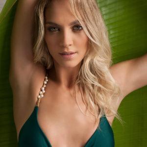 Grüner Bikini mit Perlen - BBS