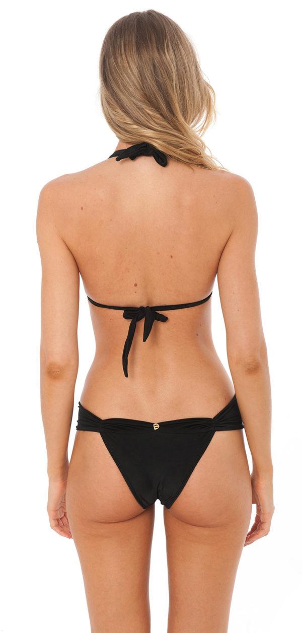 Schwarzer Luxus Triangel Luxus Bikini mit Faltenoptik