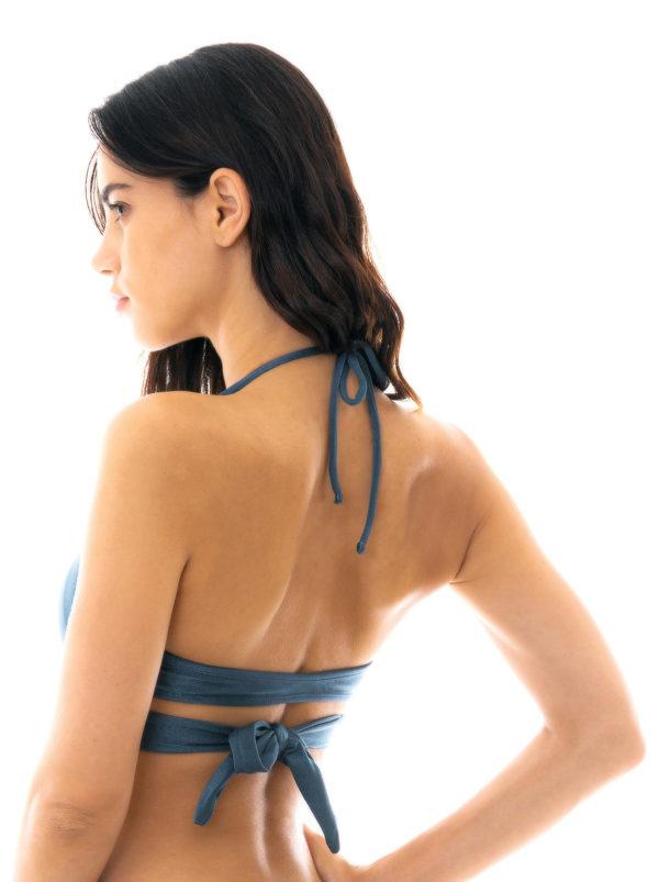 Sportlich und sexy gekreuztes Bikinioberteil schieferblau