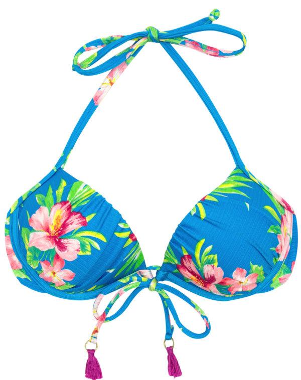 Bikini Top Blau mit Blumen und violetten Pompons