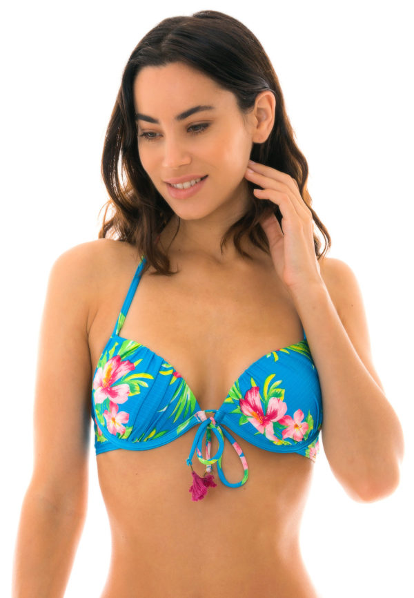 Bikini Top Blau mit Blumen und Pompons - Top Hookeri Balconet