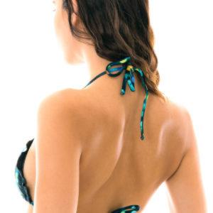 Sexy Bikinioberteil schwarz Triangel bunt bedruckt