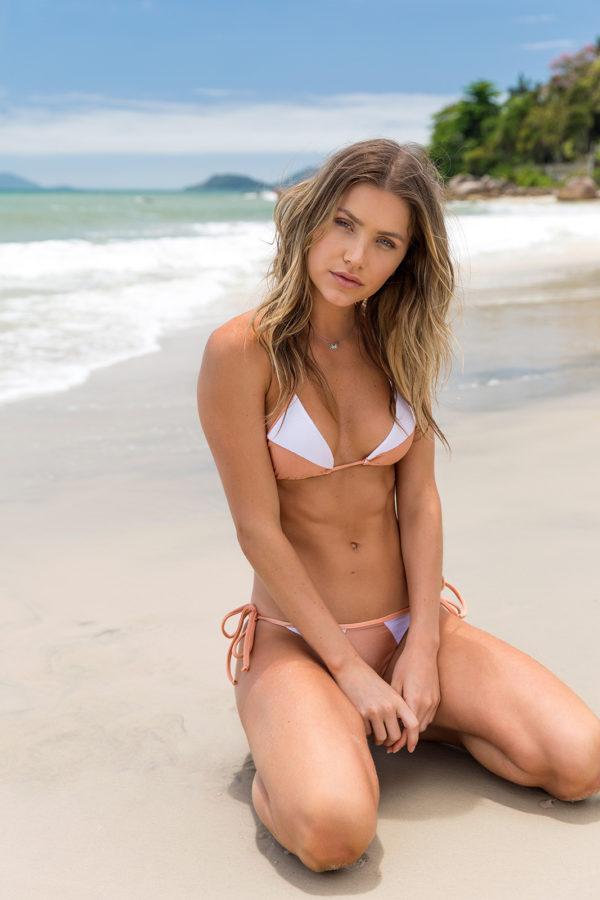 Sexy Bikini pfirsichrosa weiß strukturiert