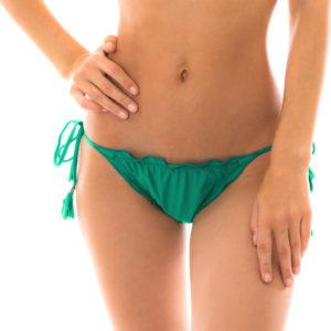 Brasiliansiches Scrunch Bikiniunterteil grün mit Pompons - Bottom Malaquita Eva