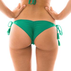 Sexy Scrunch Bikiniunterteil grün mit Pompons