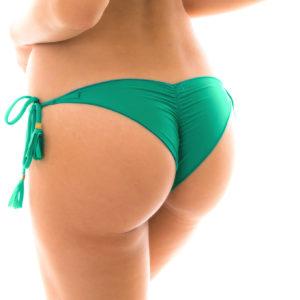 Brasiliansiches Scrunch Bikiniunterteil grün mit seitlichen Schnüren