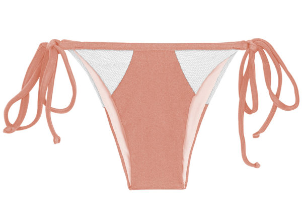 Bikini Höschen pfirsichrosa weiß strukturiert - Rio de Sol