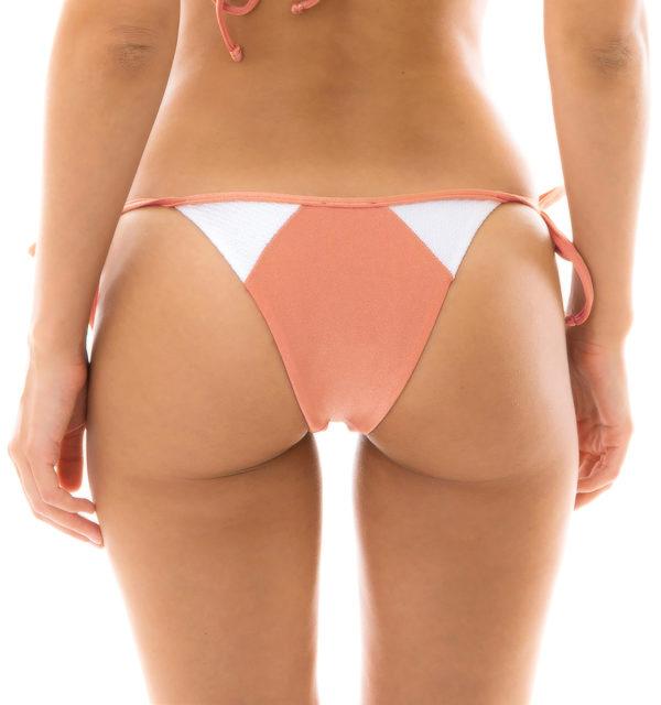 Bikini Höschen pfirsichrosa weiß strukturiert