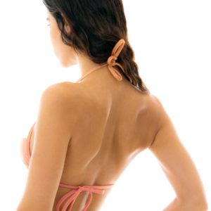 Sexy Triangel Top pfirsichrosa weiß strukturiert