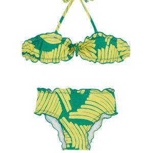 Bandeau Bikini für Mädchen grün gemustert