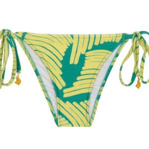 Grün gelbgemusterte Bikinihose mit Accessoire