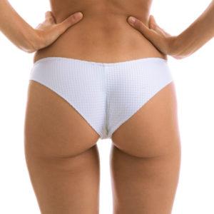 Weiß-texturierte Sexy Scrunch Bikinihose Rio de Sol