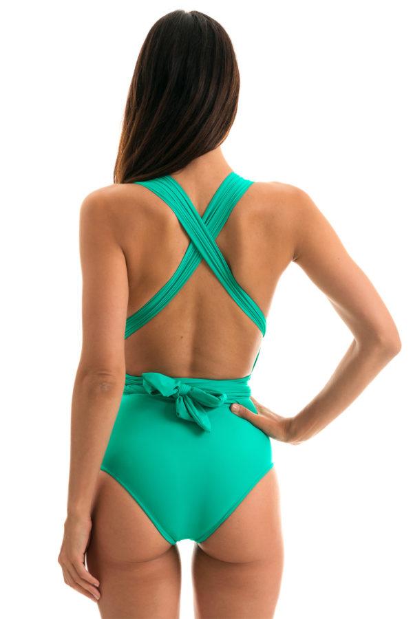 Sexy Multipositions Badeanzug maringrün