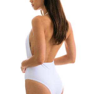 Weißer Badeanzug Wickeloptik, texturiert