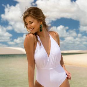 Brasil Weißer Badeanzug Wickeloptik, texturiert