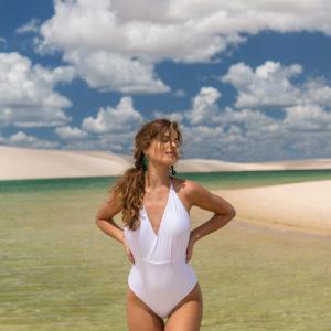 Brasilianischer Badeanzug, Wickeloptik, weiß, texturiert