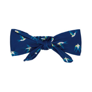 Marineblaues Haarband mit Vogelmotiv