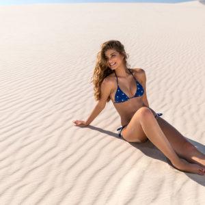 Sexy Brazil Bikini dunkelblau, Vogelmotiv