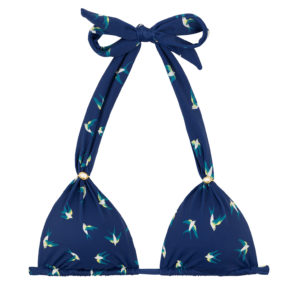 Marineblaues Triangel Bikinitop mit Faltenoptik