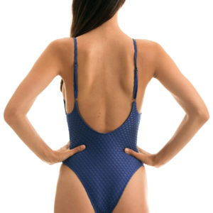 Blauer texturierter Badeanzug, hoher Beinausschnitt, Brasilianische Bademode