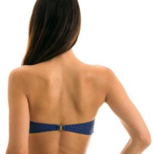 Blaues Bikini Bandeau, texturiert, Reliefeffekt - Rio de Sol