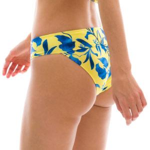 Gelbe Bikinihihose mit blauen Blümchen, hoher Verbund