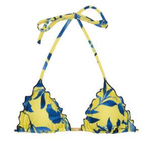 Gelbes Triangel Bikinitop blau gemustert - Top Lemon Flower Frufru