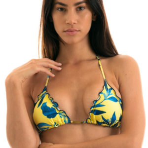 Gelbes Triangel Bikinitop, sexy, gemustert