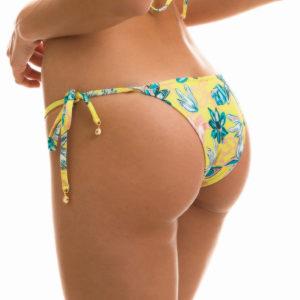 Sexy Bikinihose Brasil, gelb, Blumenmusterung, seitliche Schnüre