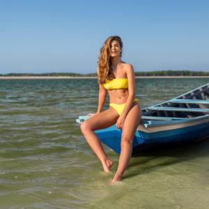 Brasil Bandeau Bikini zitronengelb